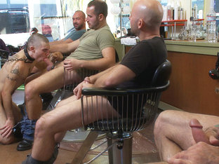 Shaved and fucked in a busy barbershop
