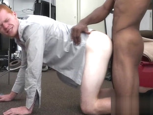 Redhead gay guy is coerced by horny director into taking his BBC