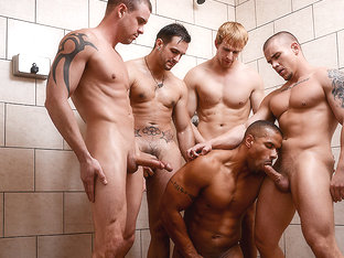 Adam Bryant, Cameron Foster, Darin Silvers, Phenix Saint, Robert Axel in Football DL Part 3 - Jizz.