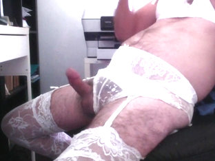 crossdressed and cumming in white lingerie