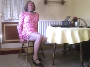 Electro Stim of Johanna in Pink Dress