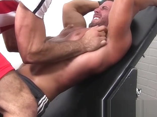 Restrained hunk feet scratched and body tickled roughly