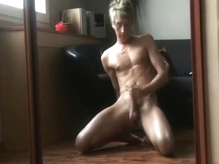 Blonde smooth chest boy strokes
