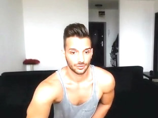 Horny romanian hunk teasing on webcam show