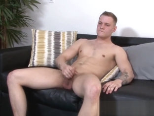 Young soldier showing off his cock jerking skills