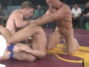 Ripped studs enjoy their wrestling