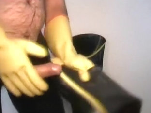 Waders and rubber gloves jerk off