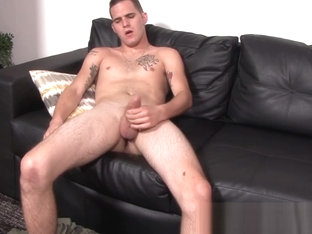 Skinny army homosexual Bo Connor solo thugs his hard penis