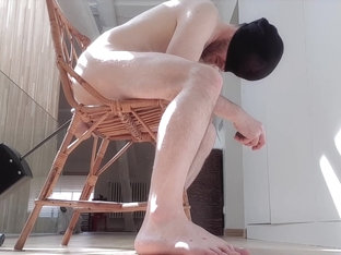 Sitting on a chair and having my ass fucked by my fuck machine - huge dildo