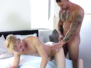 Homosexual stud sticks his dick in tight ass and drills it