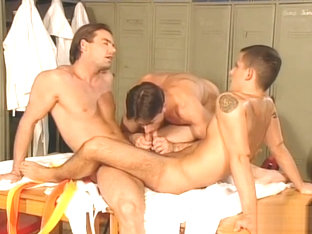 Locker Room Muscle Threesome