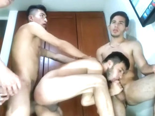 4 handsome bi curious guys hardcore fuck facial cum on cam