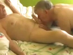 Two gay old mature grandpa sucking in the bed