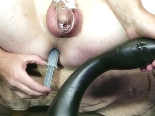 Cock locked milking prostate with goose dildo