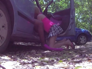 Sissy mya swallow loves to suck in the car at the beach