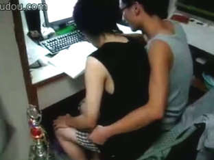Asian gays studying on the computer