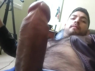 Nice Hard Latino Cock W/ Don Stone Leather Jacket Hairy Chest