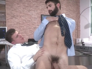 Bearded stud likes fat dong sliding deep into his ass