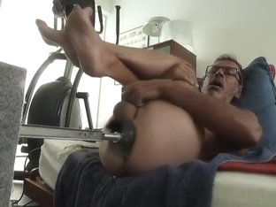 Fucking machine session with a new dildo Bad dragon