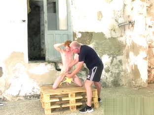 Mature dom gives a handjob to bound redhead twink Avery Monr
