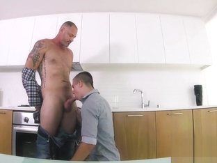 Teenager cums on stepdad