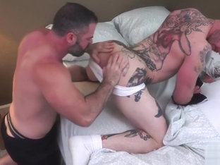 Tattoo gay ass to mouth with creampie