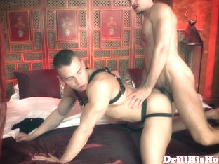 Assfucked hunk jerking off with fetish lover