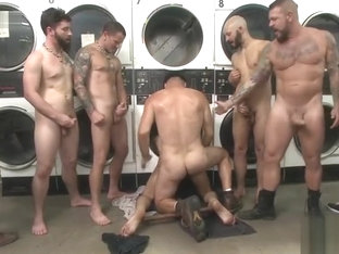 Group Sex - Edged, tormented and gang fucked in a dirty laundromat o t